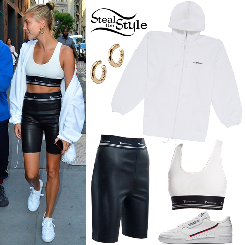 Hailey Baldwin White Top Leather Bike Shorts Steal Her Style