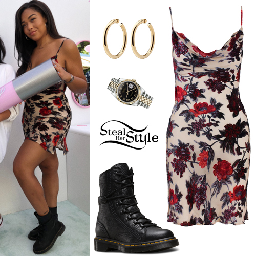 Jordyn Woods Floral Mini Dress Black Boots Steal Her Style