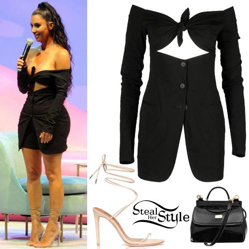 Kim Kardashian Cut Out Blazer Dress Sandals