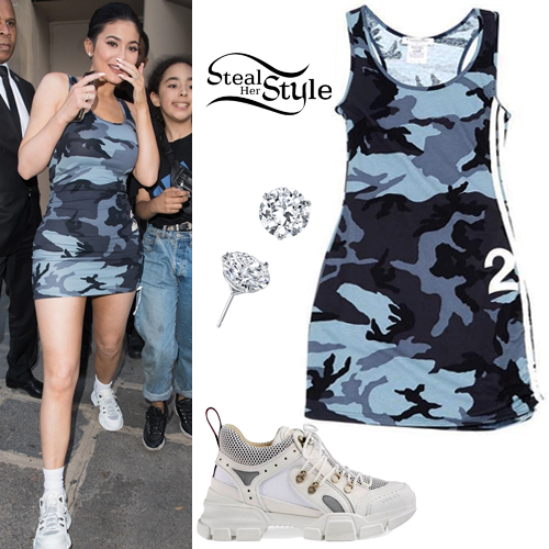 cdd7e8236f9dd Kylie Jenner: Camo Mini Dress, White Sneakers | Steal Her Style