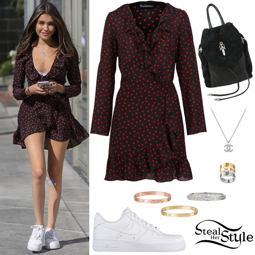 Madison Beer Polka Dot Dress White Sneakers Steal Her