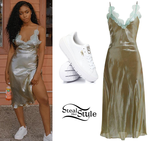 19212e96938 Normani Kordei Hamilton  Metallic Slip Dress
