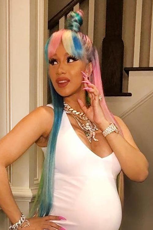 Cardi B Hair: Cardi B Straight Blue, Pink, Platinum Blonde Curved Bangs