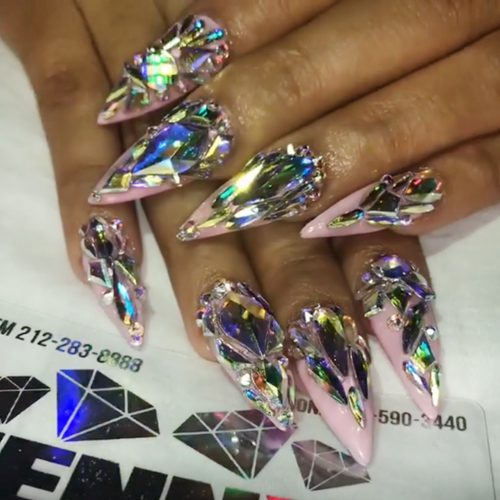 Cardi B Light Pink Jewels Nail Art Stones Nails Steal
