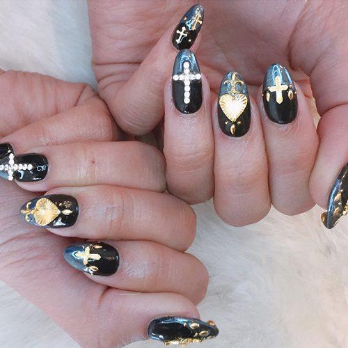 Cross Nails - 55 Celebrity Nail Art Photos With Cross Steal Her Style