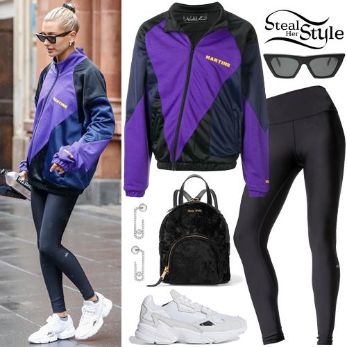 0f177851b93383 Hailey Baldwin: Purple Track Jacket, Black Leggings | Steal Her Style
