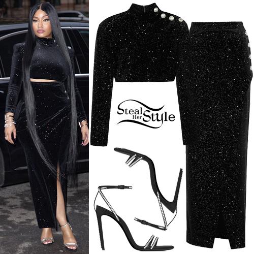 46b05f0ed08b Nicki Minaj  Black Gliter Top and Skirt