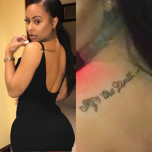 Alexis Skyy Writing Shoulder Tattoo Steal Her Style