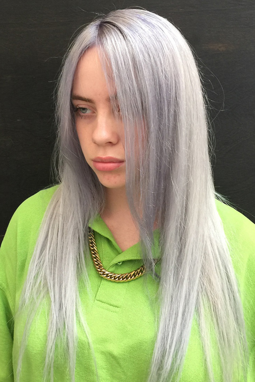Billie Eilish Straight Silver Angled Flat Ironed Uneven
