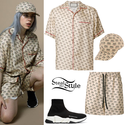 Billie Eilish Beige Printed Shirt And Shorts Steal Her Style