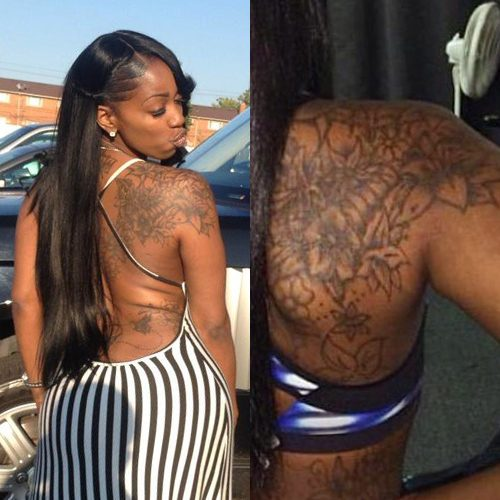 Kash Doll Flowers Shoulder Blade Upper Back Tattoo Steal Her Style
