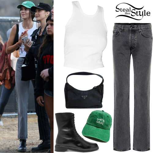 Kendall Jenner White Tank Top Straight Jeans Steal Her Style