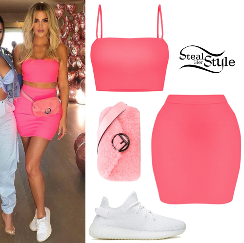 check out db48c a56a5 Khloe Kardashian  Neon Pink Top and Skirt