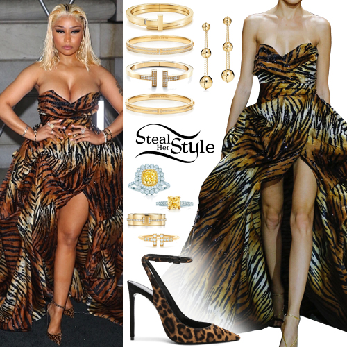 76c350649f8397 Nicki Minaj: Animal Print Gown and Pumps | Steal Her Style