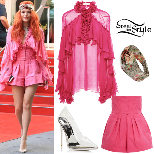 a95f2d5603 Bella Thorne  Pink Ruffle Blouse and Shorts