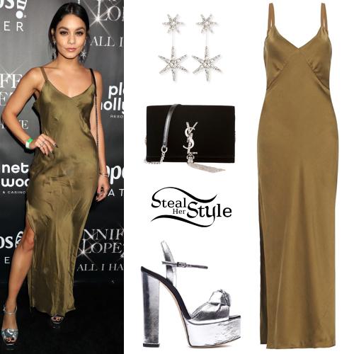 6567ab2e37aae Vanessa Hudgens: Khaki Slip Dress, Silver Platforms | Steal Her Style