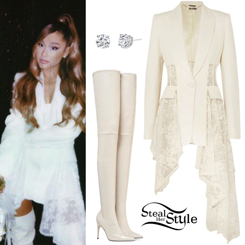Ariana Grande Lace Blazer Over The Knee Boots Steal Her Style