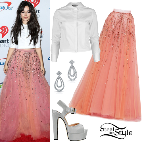 be706c98590b Camila Cabello: White Crop Shirt, Pink Tulle Skirt