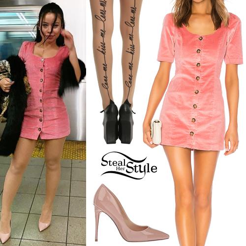 Cierra Ramirez: Pink Dress, Nude Pumps