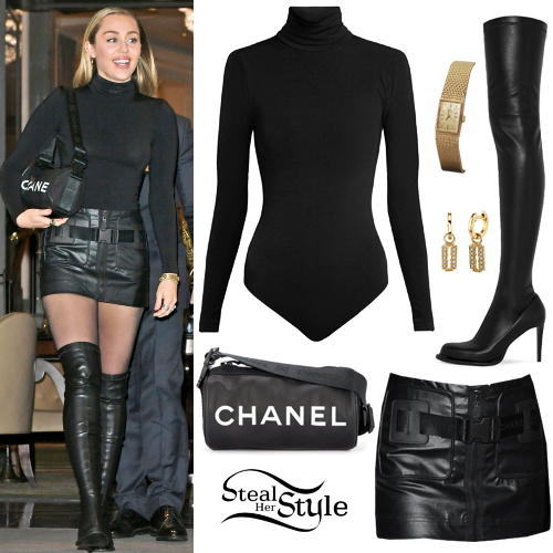 Miley Cyrus Black Bodysuit Leather Mini Skirt Steal Her Style