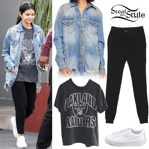 3fc617fad3 Selena Gomez  Embroidered Denim Jacket