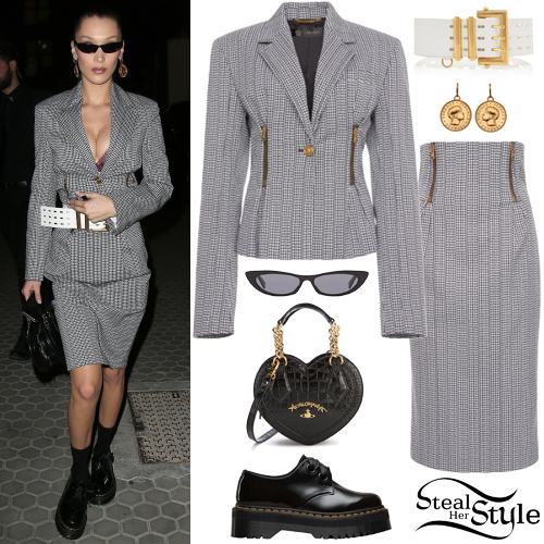 1a3572a84db85 Bella Hadid  Houndstooth Blazer and Skirt