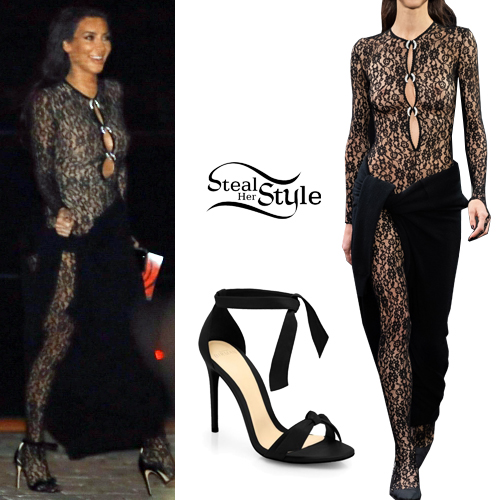Kim Kardashian Lace Jumpsuit Black Sandals Steal Her Style