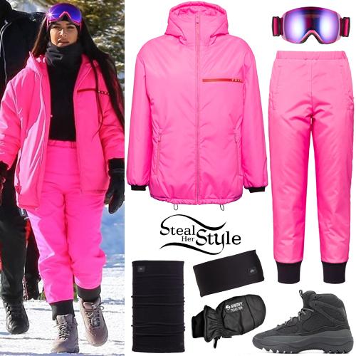 d0b4186c4cc Kim Kardashian  Pink Padded Jacket and Pants