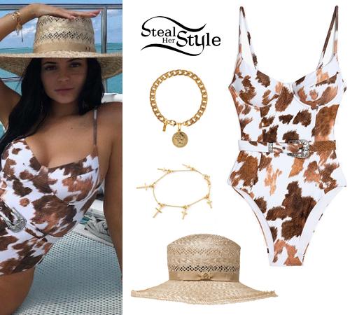 52559b84dfc7d Kylie Jenner  Cow-Print Swimsuit
