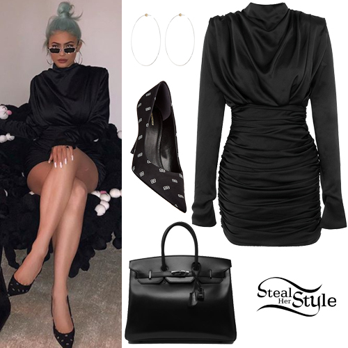 ba2f08684 Kylie Jenner: Black Satin Dress, Pointed Pumps | Steal Her Style