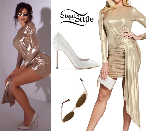 89b70f962513b Kylie Jenner  Gold Metallic Dress