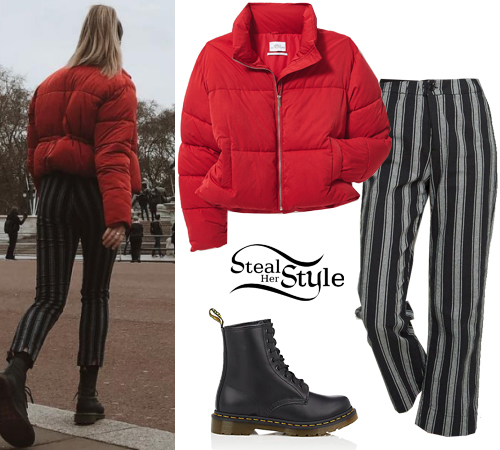 Maddie Ziegler Red Puffer Jacket Striped Pants Steal