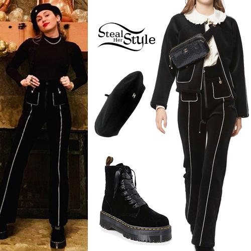 4b8cbc37b Miley Cyrus  Black Velvet Pants and Boots