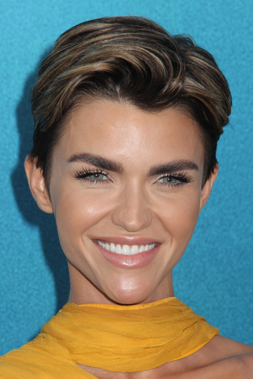 Ruby Rose Short Dark Brown All Over Highlights Pixie Cut
