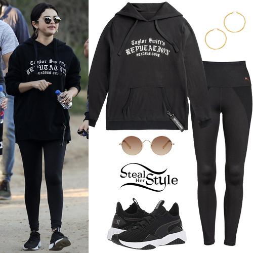 d8b947df549 Selena Gomez  Black Hoodie and Leggings