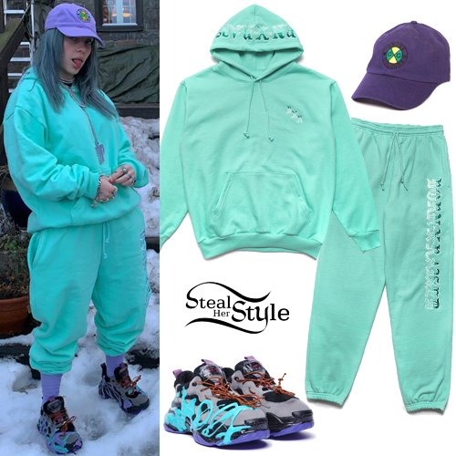 Billie Eilish Pastel Aqua Hoodie And Pants Steal Her Style