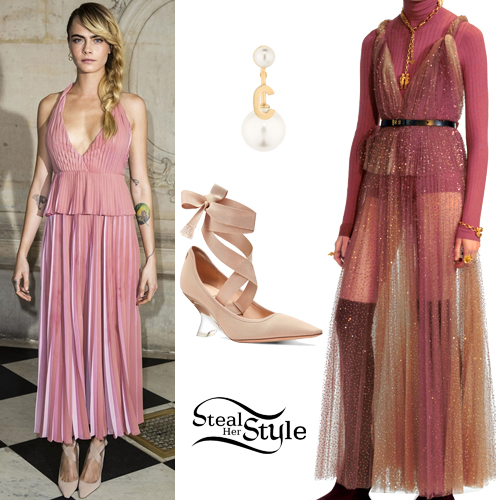 08f12807559 Cara Delevingne  Pink Pleated Dress