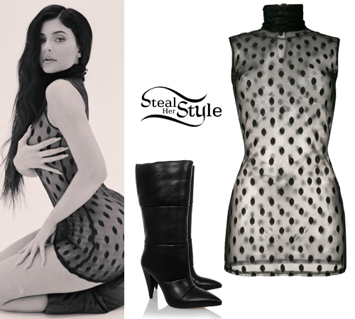 4e17a19ceb9 Kylie Jenner  Sheer Polka-Dot Top