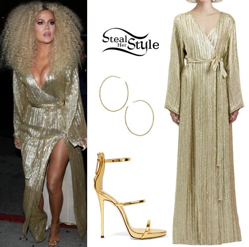 434e555421ad9 Khloe Kardashian: Gold Sequin Dress, Strappy Sandals