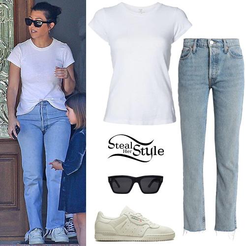 00e27fd8e340 Kourtney Kardashian: White T-Shirt, Straight Jeans | Steal Her Style
