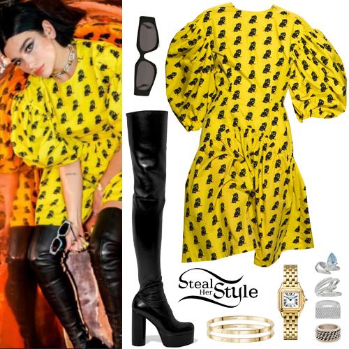 09beaf0918c Dua Lipa  Yellow Printed Dress
