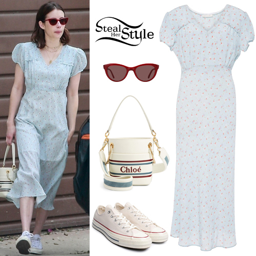 Emma Roberts Floral Midi Dress White Sneakers Steal Her Style