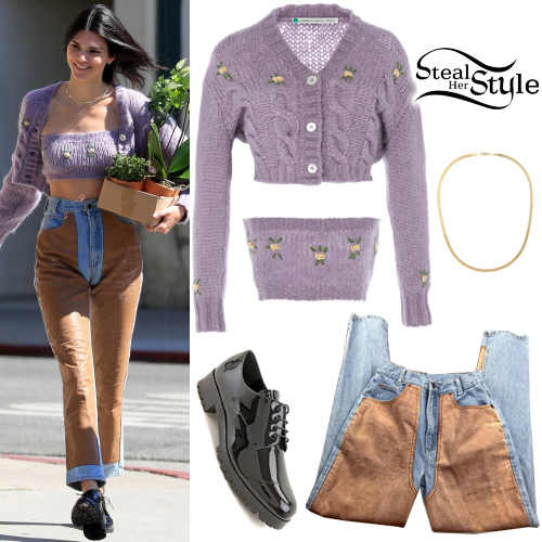 Kendall Jenner Lilac Knit Cardigan And Top Steal Her Style