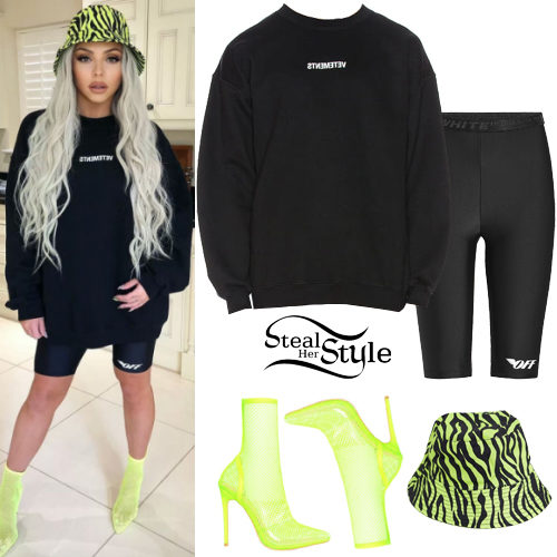 Jesy Nelson Black Sweatshirt Cycling Shorts Steal Her Style
