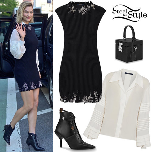 31bad4a5ce Karlie Kloss: White Shirt, Knit Mini Dress   Steal Her Style