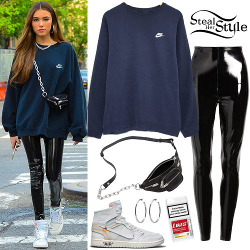 ce781345bd49 Madison Beer was spotted shopping in New York wearing a vintage Nike  Crewneck Embroidered Sweatshirt ($31.49), Commando Control Top Faux Patent  Leather ...