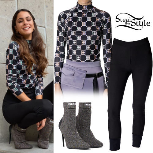 martina stoessel printed top metallic boots  steal her