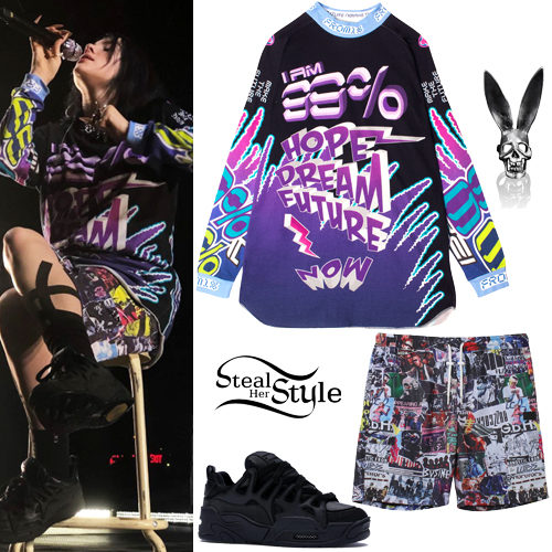 Billie Eilish Printed T Shirt And Shorts Steal Her Style