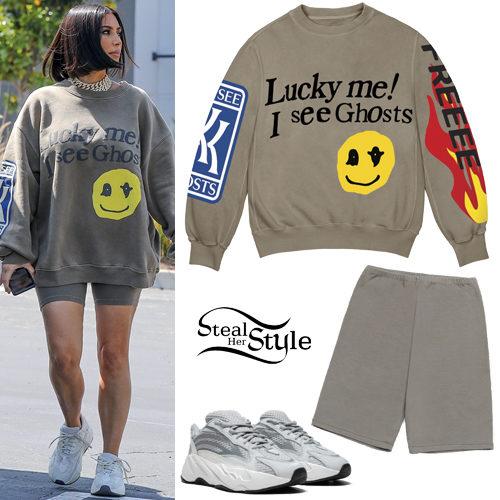 Kim Kardashian: Graphic Sweatshirt, Bike Shorts   Steal Her