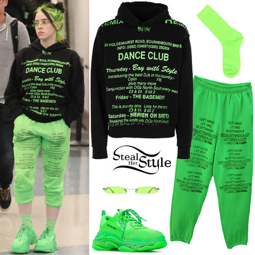 Billie Eilish Black Hoodie Neon Sweatpants Steal Her Style